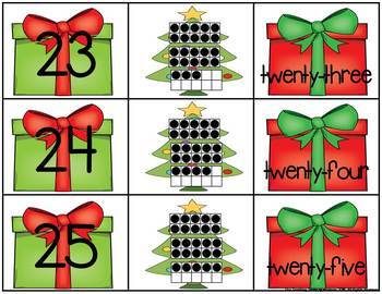 Christmas 0-25 Number, Ten Frame & Number Word Match