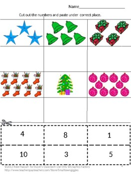 Christmas Math Centers Cut and Paste Counting Addition Subtraction Activities