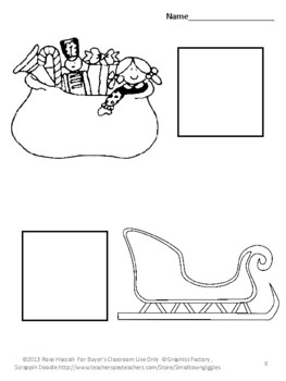 Christmas Cut and Paste Coloring Pages Fine Motor P-K, K, Special Education