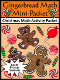 Christmas Math Activities: Gingerbread Math Christmas Math Drills Mini Packet