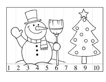 Christmas 0rdering numbers 1-10 cut and paste picture