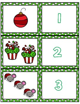 Christmas 1-10 Cards ~ 1:1 Correspondence, Subitize, Numeral Recognition