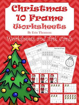 Christmas 10 Frames ~ Worksheets and Task Cards