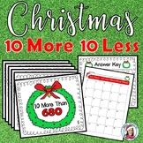 Christmas 10 More, 10 Less Task Cards
