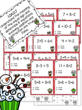 Christmas Themed Addition and Subtraction Task Cards for First Graders