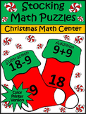 Christmas Math Activities: Christmas Stocking Math Puzzles Activity - Color