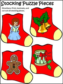 Christmas Game Activities: Christmas Stocking Letters & Words Puzzles Activity