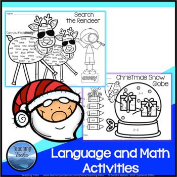 Christmas Worksheets: Christmas Kindergarten Math and Language Activities