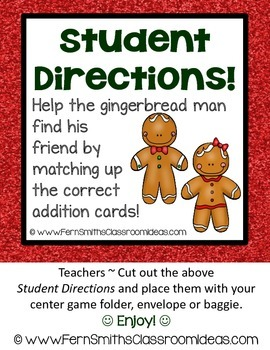 Christmas Math Quick and Easy to Prep Addition Plus Two Center Game