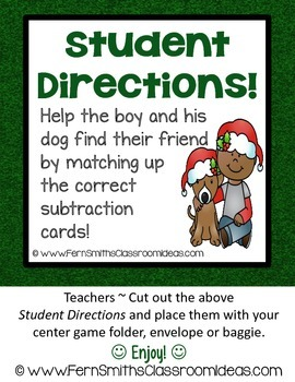Christmas Math Quick and Easy to Prep Subtraction Subtract Two Center Game