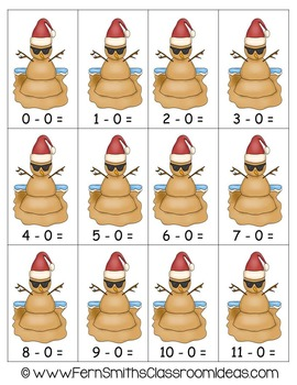 Christmas Math Quick and Easy to Prep Subtraction Subtract Zero Center Game