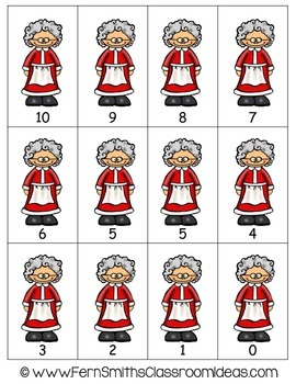 Christmas Math Quick and Easy to Prep Subtracting From Ten Center Game