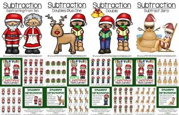 Christmas Math Quick and Easy to Prep Addition and Subtraction Center Games