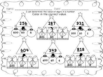 Christmas 2 & 3 digit Place Value Worksheet Bundle