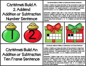 Christmas 2 Addend Addition & Subtraction With Ten Frames