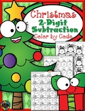Christmas 2-Digit Subtraction with Regrouping Color-by-Cod
