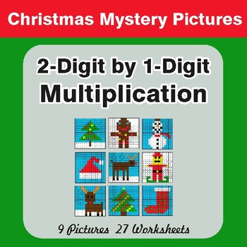 Christmas: 2-Digit by 1-Digit Multiplication Color-By-Number Mystery Pictures