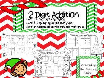 Christmas 2 digit addition Bundle (Levels 1,2,3)