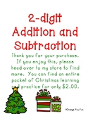 Christmas 2-digit addition and subtraction practice