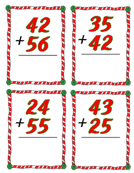 Christmas 2 digit addition task cards without regrouping; with or w/o QR codes