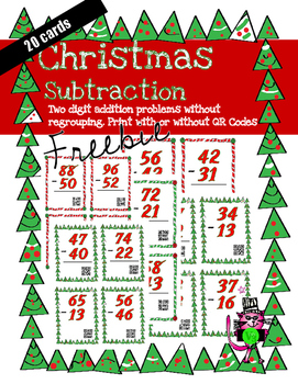 Christmas 2 digit subtraction task cards w/o regrouping; w