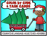 Christmas Figurative Language Adjectives Adverbs Task Card Color by Code