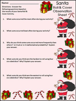 Christmas Activities: Santa Roll & Cover Christmas Math Center Activity