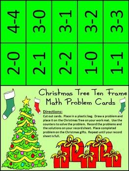 Christmas Game Activities: Christmas Tree Christmas Ten Frames Math Activity