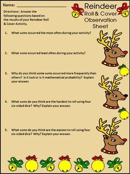 Christmas Math Activities: Reindeer Roll & Cover Christmas Math Center Activity