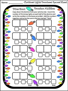 Christmas Game Activities: Christmas Lights Dominoes Christmas Math Activity