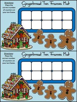 Gingerbread Activities: Gingerbread Men  Christmas Ten Frames Math Activity