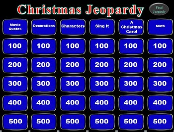 christmas jeopardy party pack - Christmas Jeopardy