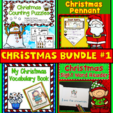 Christmas Bundle: Number Puzzles, Pennant, Vocabulary Book & Sight Word Reader