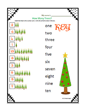 Christmas Counting Numbers 1 - 20 Math and Literacy Activity