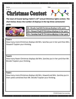 Christmas 2nd Grade Common Core Math Assessment Task