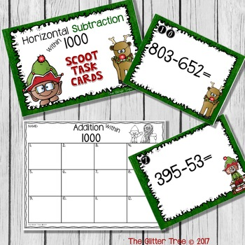Christmas 3 Digit Addition and Subtraction Scoot Task Cards