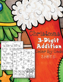Christmas 3-Digit Addition with Regrouping Color-by-Code Printables