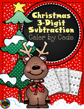 Christmas 3-Digit Subtraction Color-by-Code Printables