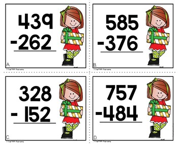 Christmas 3 Digit Subtraction with Regrouping