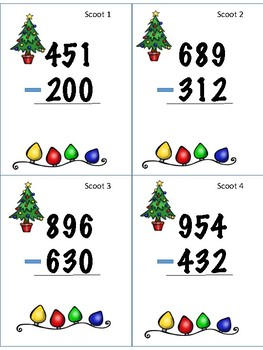 Christmas 3 Digit Without Regrouping Scoot!