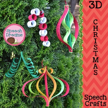 Christmas 3D Speech Therapy Crafts {articulation language craftivities}
