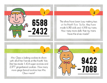 Christmas 4 Digit Subtraction Task Cards
