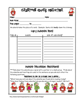 Christmas 8 Parts of Speech Printables for Centers and Independent Reading