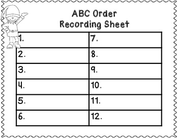Christmas ABC Order Center Activities Early Finisher Centers