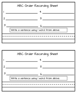 Christmas ABC Order Packet