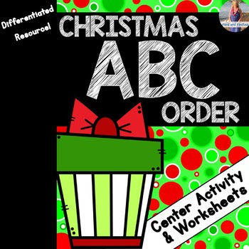 Christmas ABC Order Worksheets and Center Activity