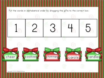 Christmas ABC Order for Interactive Whiteboard