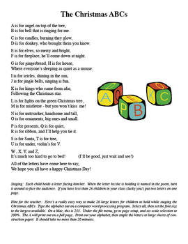Christmas Abc Song And Poem Includes Mp3 Files By Denise