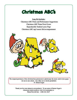 Christmas ABC Song and Poem (includes mp3 files)