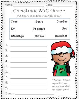 Christmas ABC order
